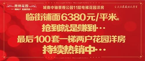 晟锦花园临街铺面6380元/㎡起,抢到就是赚到…最后100套一梯两户花园洋房,持续热销中…