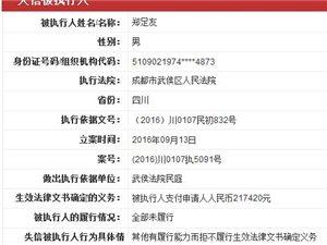 重向董事长被列入中国失信人员名单
