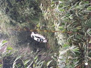 惊险!富顺发生交通事故,一小轿车开下悬崖!