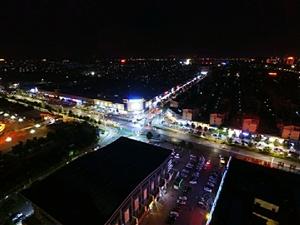 夜航拍摄美丽的滑县