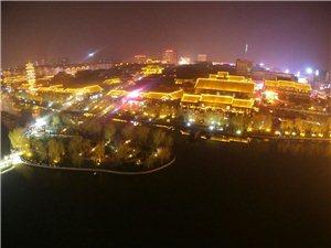 航拍青州大帝国古城夜景