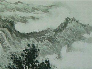 汤希忠国画六尺对开山水作品《家在青山绿水间》