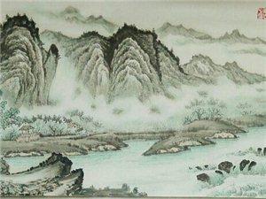 汤希忠国画六尺对开山水作品