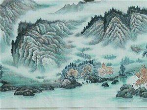 汤希忠国画六尺对开山水《松风福禄图》,《青山不老绿水长流》
