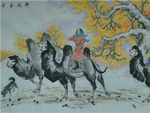 汤希忠国画四尺作品《祥驼步金秋》《初