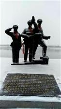 鸭绿江沙河口铁路桥遗址.雕塑《告别祖国》