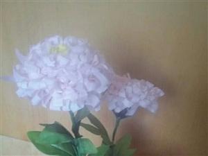 手工制作布艺牡丹花,布艺菊花。布艺玫瑰花