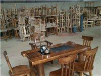 1.6米老榆木茶台,一桌5椅