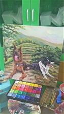 无聊中的两只牧羊犬和一些画