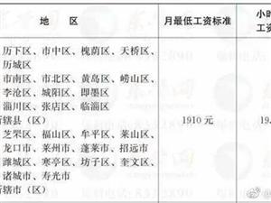 省政府下发通知,调整全省最低工资标准。其中东营调整后的月最低工资标准为1910元。调整后的最低工资标