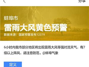 蚌埠雷雨大风黄色预警: