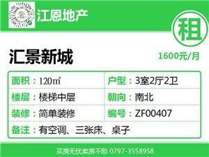 【财富广场附近】汇景新城3房1600元/月