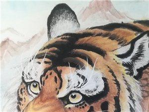 国画上山虎《福地集祥雪》虎是兽中之王,代表威严,权利,荣耀。中国人自古就喜欢虎。虎是强壮、威武的