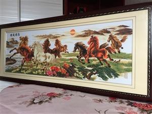 手工刺绣:八匹马的马到成功、满绣手工精细、栩栩如生,纯个人爱好、花了一年的时间完成、刺绣图案尺寸:1...