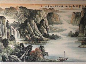 此画为山水,长4米宽1.5米