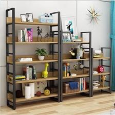 时尚现代钢木书架简易置物架客厅书柜钢木组合储物货架收纳架铁艺