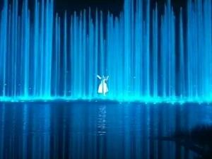 网红草和双清湾公园的水幕荧屏