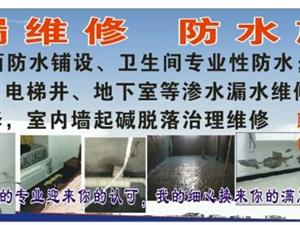 补漏防水,承接屋面、室内卫生间防水,屋顶漏水防水维修,内外墙渗水维修,室内墙起碱脱落治理维修1583
