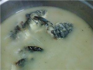 白味儿鲫鱼汤,虽然鱼被煎糊了滴滴,但是汤的味道还是杠杠的!
