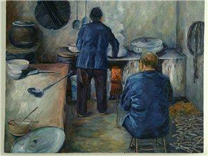 成卫军油画作品《家的味道》100*80cm