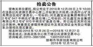 【拍卖公告】受有关单位委托,我公司定于2018年12月28日上午10:00在涉县公共资源交易中心第二