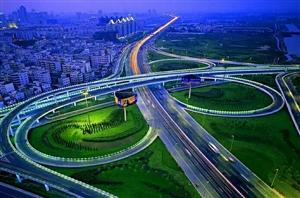 夜幕下的郑州桥梁