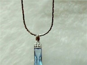 蓝水晶吊坠配925银链一套简单.喜欢的美女速度仅此一个。