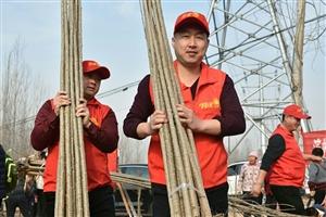 大手牵小手,记滨州阳光公益事业发展中心志愿者,2019年3月9日在?#35272;?#30340;黄河北岸植树造林活动现场。