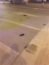 刚刚,东环路一黑色小车侧翻