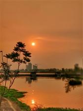 美丽的朝霞,铺满了天际,映红了平静的河面。