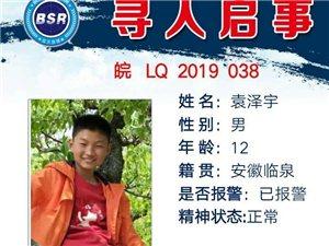 【临泉蓝天救援队协助寻人启事】袁泽宇,12岁,4月30日从万嘉新城出走