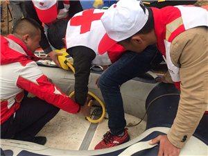 临泉县红十字应急救援队防汛抗洪抢险常规演练