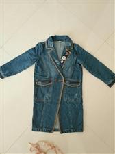 儿童牛仔风衣,基本全新,质量特别好,长款,七岁内穿