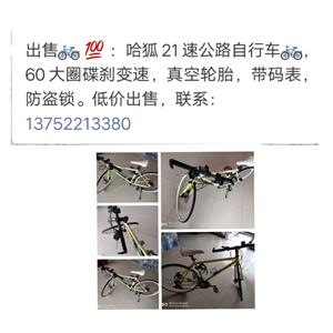 自行车出售?? ?? :哈狐21速公路自行车??,60大圈碟刹变速,真空轮胎,带码表,防盗锁。低价出...