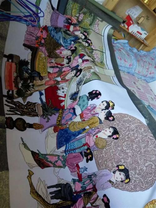 十子绣,手工绣琴棋书画,长3.5米,宽1.5米现急售