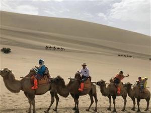 火车马新疆行之敦煌鸣沙山和月牙泉。