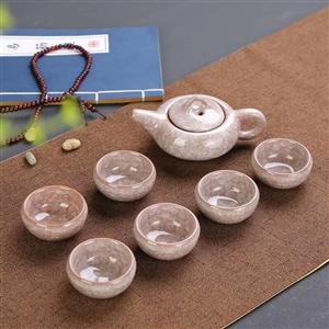 冰裂茶具 冰裂轴是指在多层次的立体结构裂纹,造成犹如花瓣般的层面。杯壁厚实,口缘宽敞,轴薄而质细,轴...