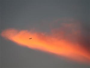 近几天,苍朗浴火的火烧云出现在珠海的天空