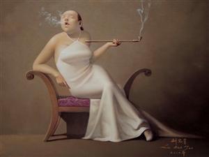 何为慵懒、闲暇、恬静?请欣赏画风独特的油画家刘宝军的组画《抽烟斗的胖女人》
