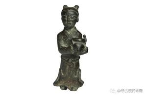 文玩清供―杂项:清代善财童子铜像
