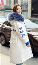 刚买新款80绒羽绒服。白蓝色。中长款。质量很好。只试穿过一次。没洗。觉得不适合自己。低价亏转让。非诚...