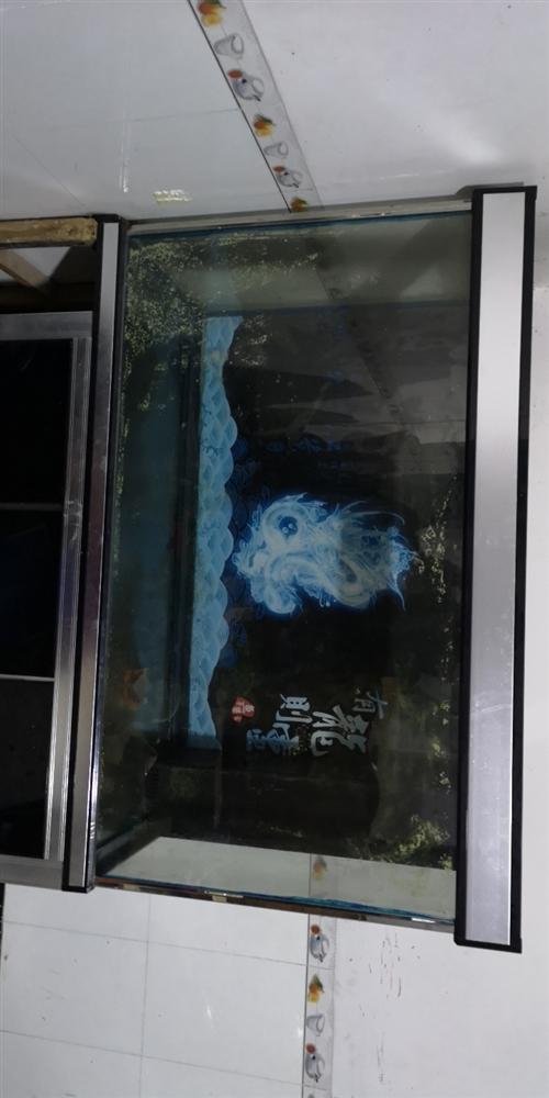 出售二手鱼缸,长145cm,宽55cm,高155cm,带过滤器,水泵,灯光。