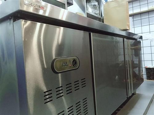 饮料店水吧操作台出售 因店铺合同到期处理 乐创品牌 1.8米长 双开门冷冻冷藏冰箱 使用一年 ...