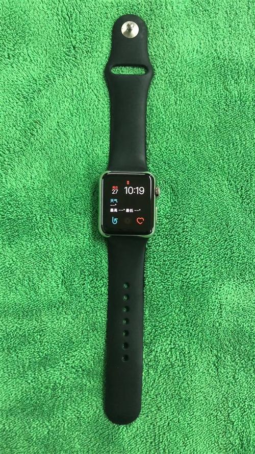 Iphone Watch 38mm黑钢苹果腕表,完美成色纯新,带无线原充电器,可以和手机无线同步接打...