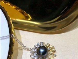 #大溪地黑珠项链# 925银双色工艺枝蔓  大溪地黑珠10-11mm 正圆无暇