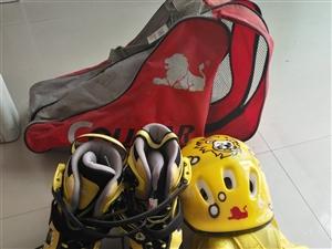 只用过一次的溜冰鞋,安全工具标贴护具,帽子齐全,适合7到12岁的小朋友使用。