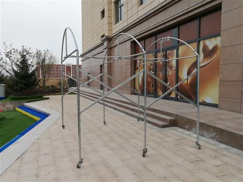 折疊式伸縮式帳篷支架(自己焊接,厚料),展開入深3米,寬3米,帶滑輪,不帶帳篷.有10套