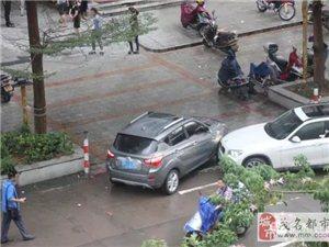 高州府前北路清华园小区门口处,两辆小车发生碰撞!