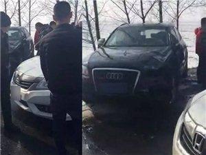 宾县至三宝方向,奥迪车和本田车相撞,车损严重