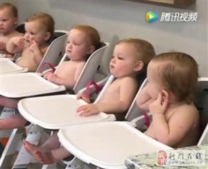 五胞胎排排坐肉乎乎,妈妈唱儿歌5个萌娃齐拍手,难得一见快围观